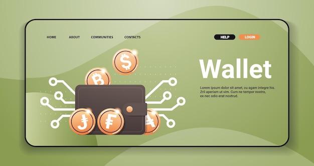 Виртуальный кошелек с золотыми монетами криптовалюта блокчейн технология концепция цифровой валюты горизонтальная копия пространства векторные иллюстрации