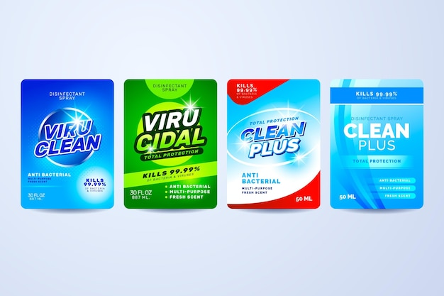 Virucidal and bactericidal cleaner labels