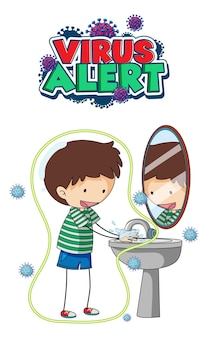 Virus alert font design with a boy washing his hands on white background