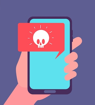 Virus alert. malware notification on smartphone screen.