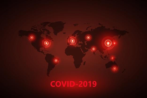 ウイルスとグローブ。危険な中国のncovコロナウイルス、パンデミックリスクアラート