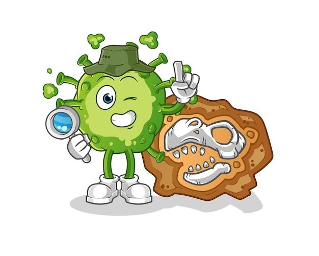 Virus archaeologists with dinosaur fossils mascot