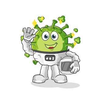 キャラクターを振っているウイルス宇宙飛行士