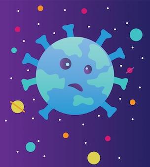 Вирус привлекает мир. иллюстрация концепции вируса covid-19.