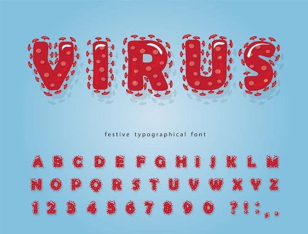Virus cartoon font. coronavirus red alphabet.