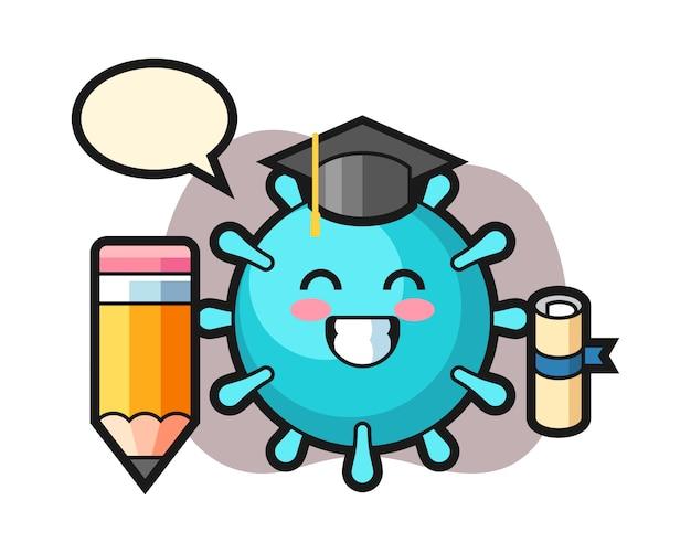 巨大な鉛筆でウイルス漫画卒業
