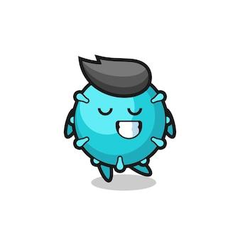 수줍은 표정을 가진 바이러스 만화 삽화, 티셔츠, 스티커, 로고 요소를 위한 귀여운 스타일 디자인
