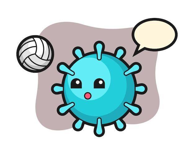 Вирусный мультфильм играет в волейбол