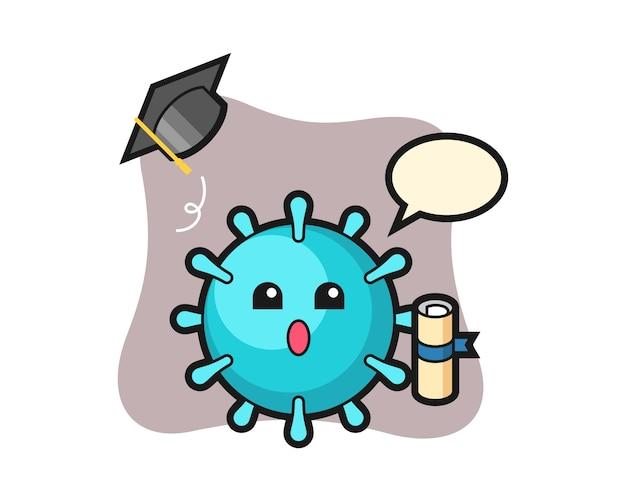 卒業時に帽子を投げるウイルス漫画