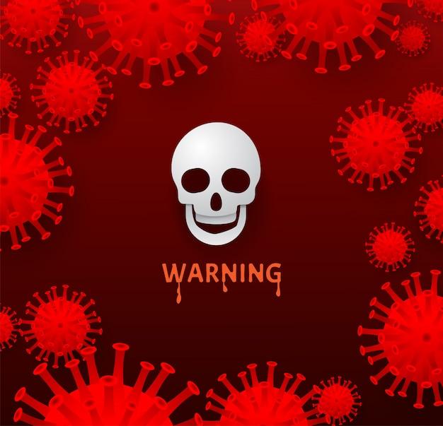 白い頭蓋骨と赤の背景にウイルス細胞。 covid-19、コロナウイルス、2019-ncovウイルス制御と保護。