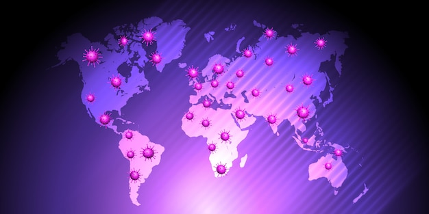 Virus cells on a world map