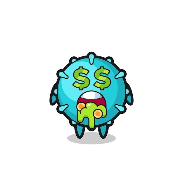 돈에 미친 표정을 가진 바이러스 캐릭터, 티셔츠, 스티커, 로고 요소를 위한 귀여운 스타일 디자인