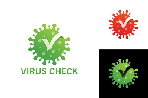 Virus check logo template premium vector