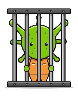 바이러스 covid-19 투옥 된 만화 아이콘 벡터 일러스트 레이 션. 디자인 고립 된 평면 만화 스타일