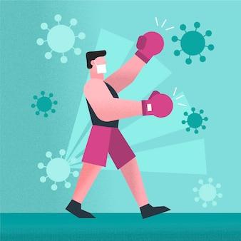 권투 선수와 바이러스 치료 개념