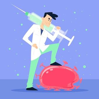 Concetto di cura del virus con medico e siringa