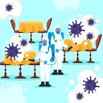 Концепция иллюстрации дезинфекции вируса