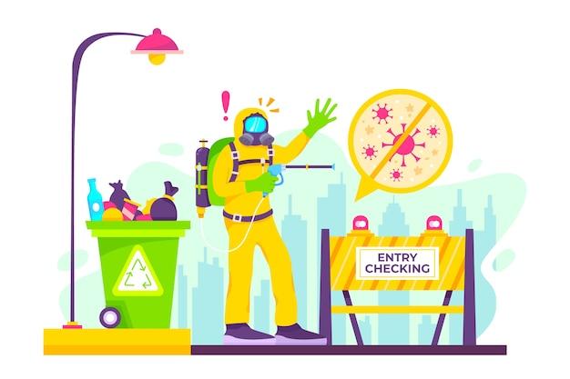 Иллюстрация дезинфекции вируса
