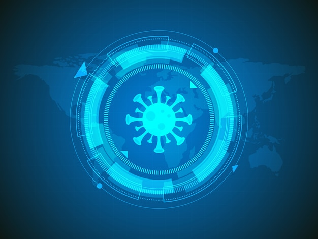 Virus detected on world map technology background