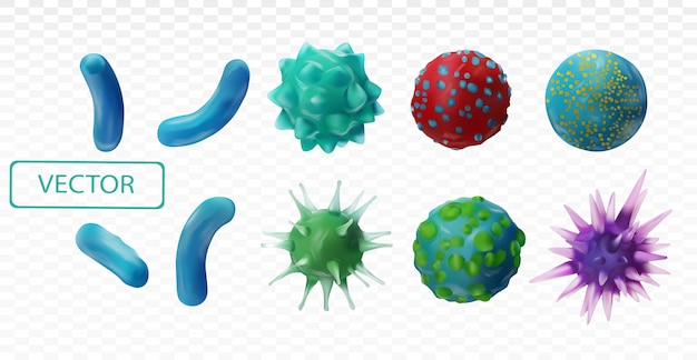 Virus disease. abstract background virus. set virus. virus icon set. infection flu, pneumonia.bacteria, microbes fungi. danger to a living organism.viruses under the microscope.