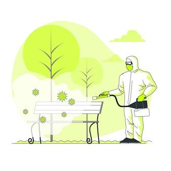 Иллюстрация концепции дезинфекции вируса