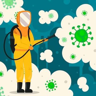 Virus disinfection illustration