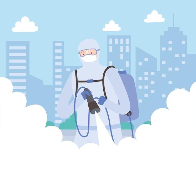 Дезинфекция вирусом, медицинский человек в костюме хазмат чистка и дезинфекция, коронавирус covid 19, профилактические меры