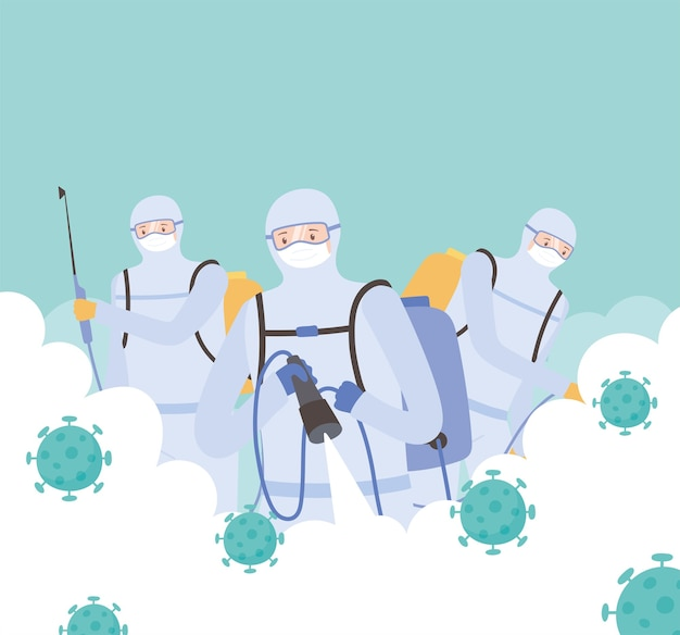Virus disinfection, men in protective suit spraying disinfectant to cleaning, covid 19 coronavirus, preventive measure