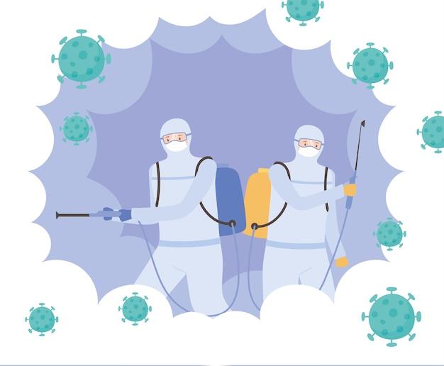 Вирусная дезинфекция, специалисты в защитных костюмах от вирусной опасности, коронавирус covid 19, меры профилактики