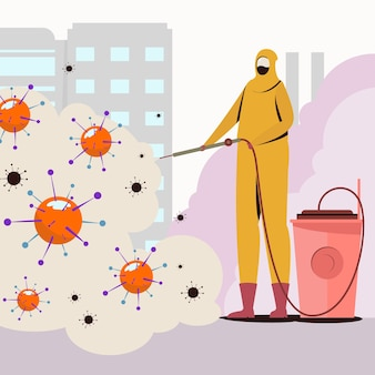 Virus disinfection with man in yellow hazmat suit