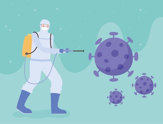 Дезинфекция вирусом, работник в защитном костюме распыляет молекулу коронавируса, профилактические меры