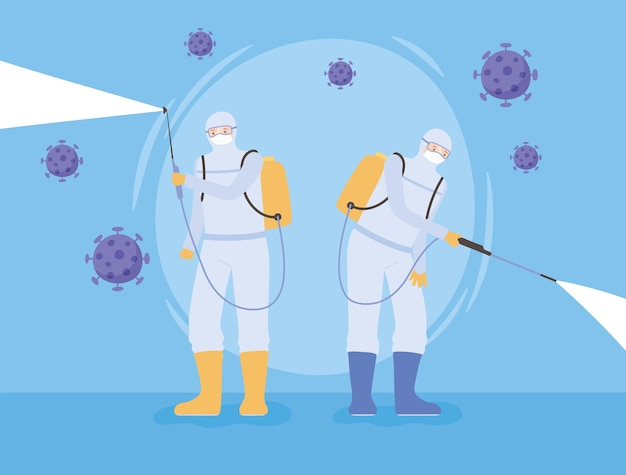 Virus disinfection, workers wear protective mask and suit sprays coronavirus covid 19