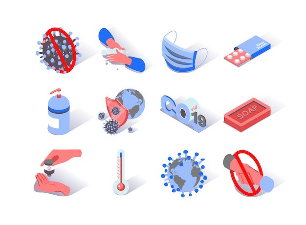 Virus epidemic coronavirus isometric icons set.