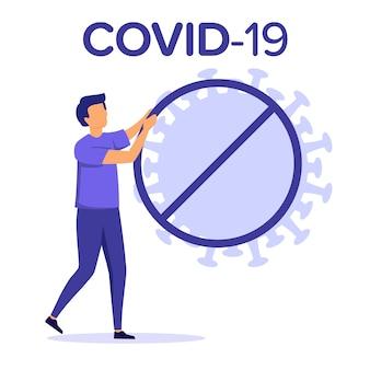 ウイルスの流行、世界的な流行の概念。モダンな紫の色フラットイラスト。白い背景のcovid-19テキストに分離された円の一時停止の標識のコロナウイルスシンボル。