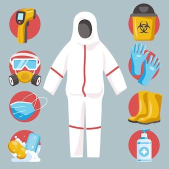 Set di elementi di protezione delle apparecchiature virus