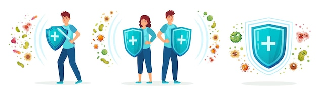 Virus germs and bacteria protection. healthy immune system, adult man and woman protected from viruses and bacterias by immunity shield illustration set.