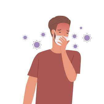 Virus germs spread in the air. man wearing masks and coughing. illustration in a flat style