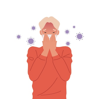 Virus germs spread in the air. man wearing masks and coughing.