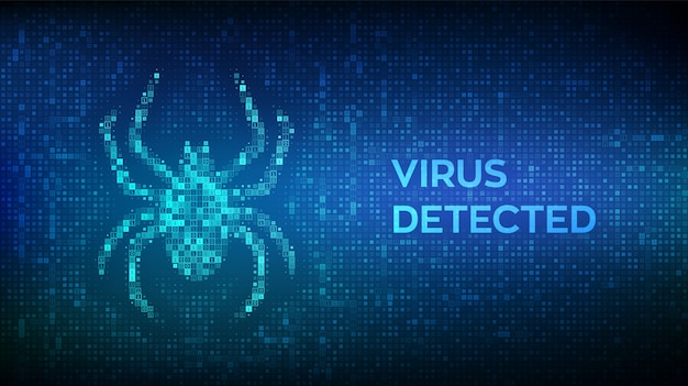 Virus hazard sign. virus detected. computer bug made with binary code. hacked.