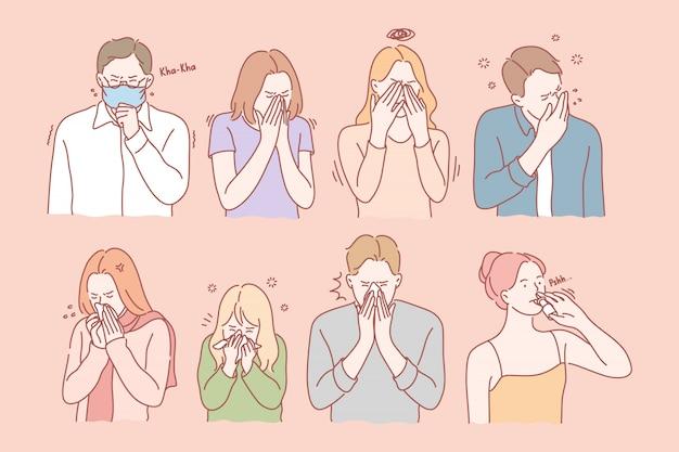Virus, illness, allergy set concept