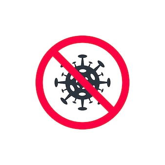 赤丸で囲まれたウイルス、赤丸で囲まれたコロナウイルス分子を使用したポスターデザイン。ベクトルイラスト。禁止されているウイルスに署名する白い背景の上の赤い十字の円