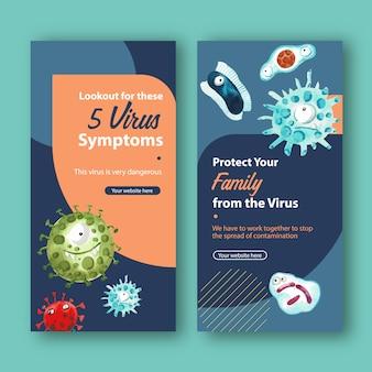 Modelli di storia di instragram virus in stile acquerello