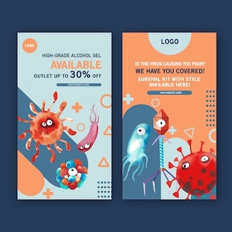 Virus instragram story templates in watercolor style