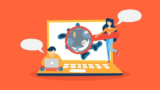 Virus on the laptop computer detected illustration