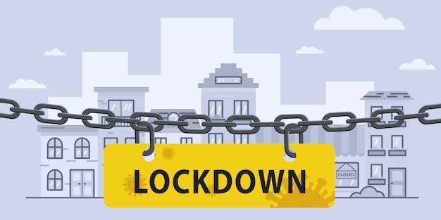 Virus lockdown barrier chain over city. pandemic. biohazard warning sign. stock   illustration in flat design.