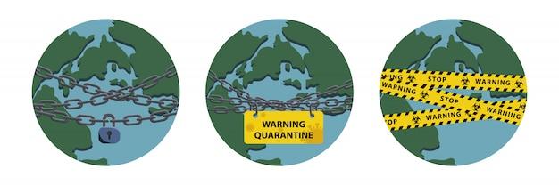Virus lockdown barrier over planet. pandemic. biohazard warning concept. stock   illustration in flat design.