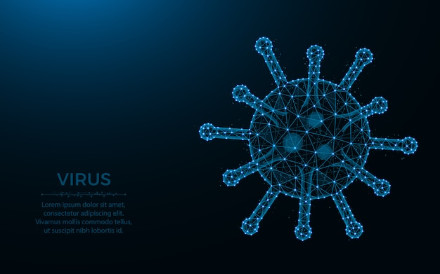 ウイルスの低ポリデザイン、細菌または微生物のワイヤフレームメッシュポイントとラインの暗い青色の背景から作られた多角形の図