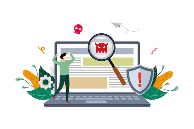 Virus malware detected illustration