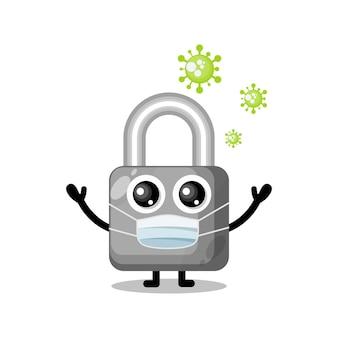 바이러스 마스크 자물쇠 귀여운 캐릭터 마스코트