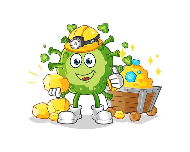 Вирус-майнер с золотым персонажем